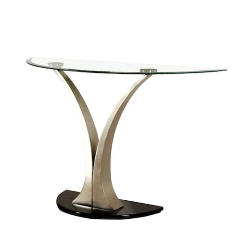 Sofa Table with Curved V Base and Semi Circular Glass Top, Silver
