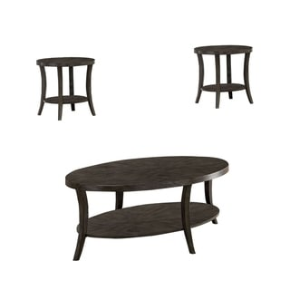 Transitional Style 3 Piece Wooden Table Set with Flared Legs, Gray