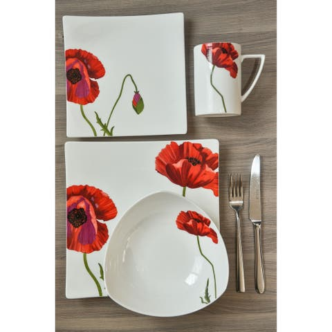 Christopher Knight Red Poppy 4Pc Place Setting