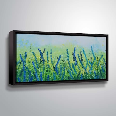 ArtWall Blue Flower Field Gallery Wrapped Floater-framed Canvas by Herb Dickinson