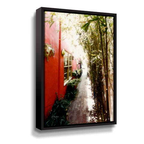 ArtWall Red Wall Bamboo Walkway Signed Gallery Wrapped Floater-framed Canvas by Linda Parker