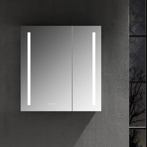 LED Mirror Medicine Cabinet with Defogger, Dimmer, Outlets & USB Ports