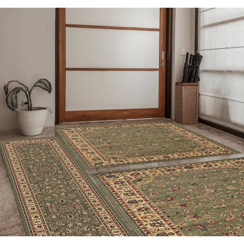 """Admire Home Living Caroline Traditional 3 Piece Rug Set - 5'5""""x7'7""""/2'2""""x7'7""""/3'3""""x4'11"""""""