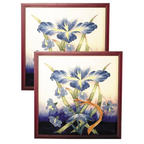 Springdale 9.5 H Iris 2 Piece Hand Painted Porcelain Decorative Wall Art