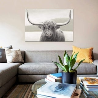 """Link to iCanvas """"Highland Cow Neutral"""" by James Wiens Gallery-Wrapped Canvas Print Similar Items in Canvas Art"""