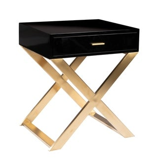 Kristy Modern Wooden Nightstand with Glossy Drawer