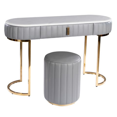 Carolina Modern Console Table with Stool & Marble Top
