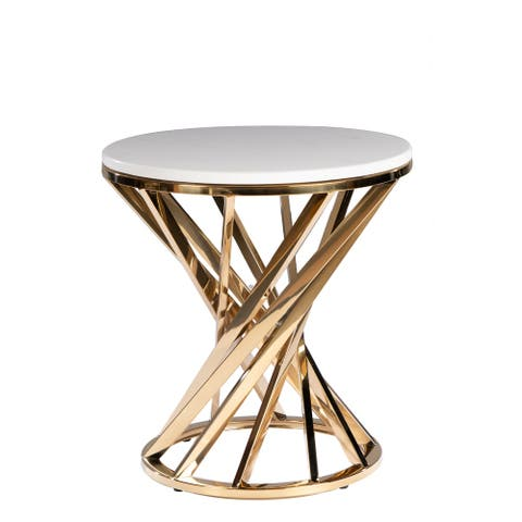 Iris Modern Round Side Table with Marble Top
