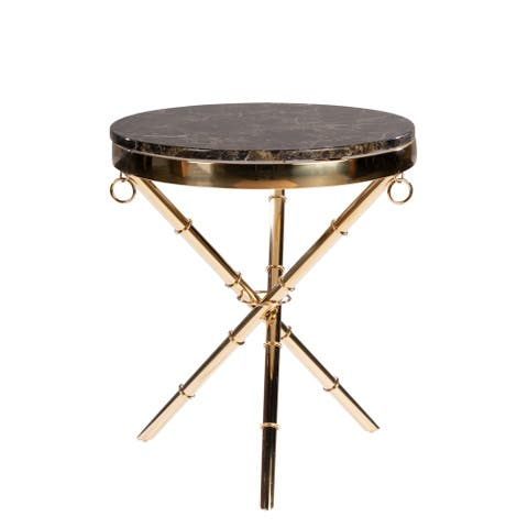 Lexi Modern Round Side Table with Marble Top