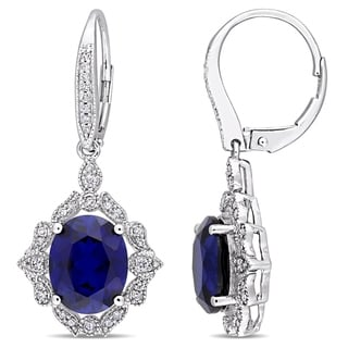 Miadora 10k White Gold Created Blue Sapphire & 1/3ct TDW Diamond Vintage Halo Leverback Earrings