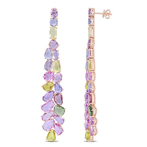 Miadora 14k Rose Gold Multi-color Sapphire Cluster Chandelier Drop Earrings