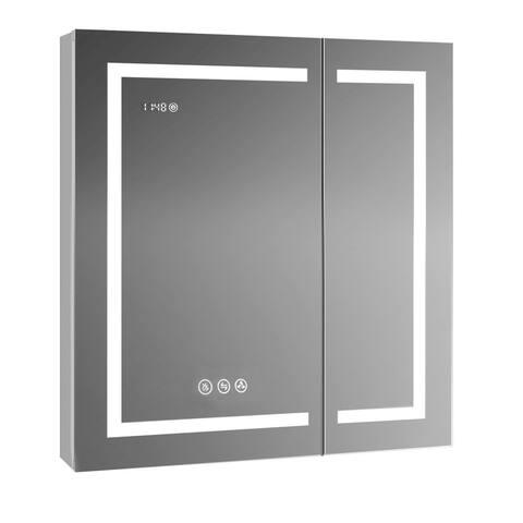 LED Mirror Medicine Cabinet w/Defogger, Dimmer, 3X Makeup Mirror, Outlets & USB