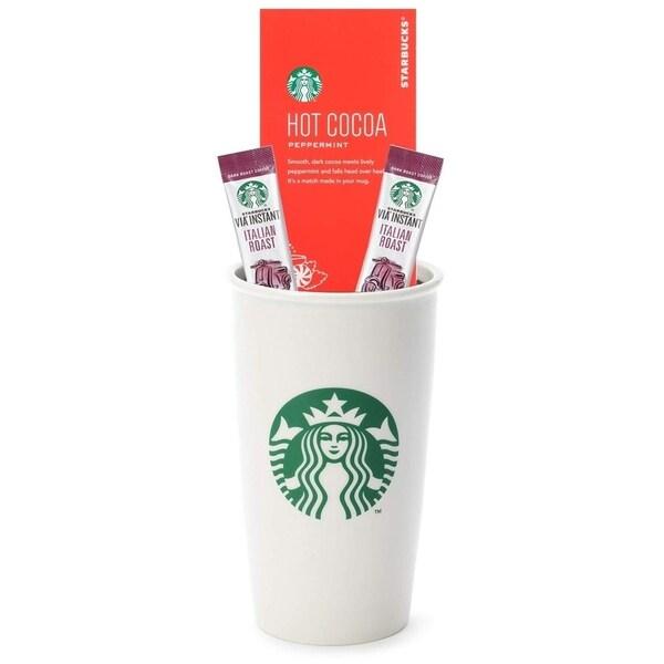 New Starbucks Holiday Gift Set 10oz White Ceramic Travel Tumbler Mug Lid Coffee