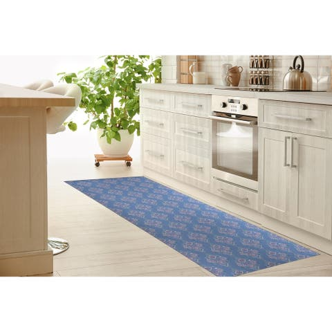 BOHO DAMASK BLUE Kitchen Runner By Terri Ellis