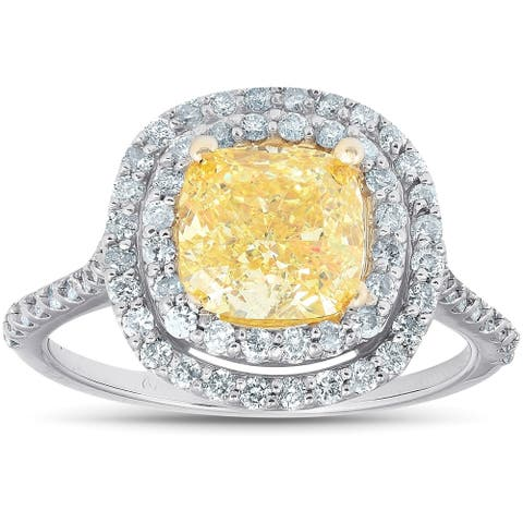 1.67Ct Diamond Fancy Yellow Cushion Double Halo Engagement Ring 14k White Gold
