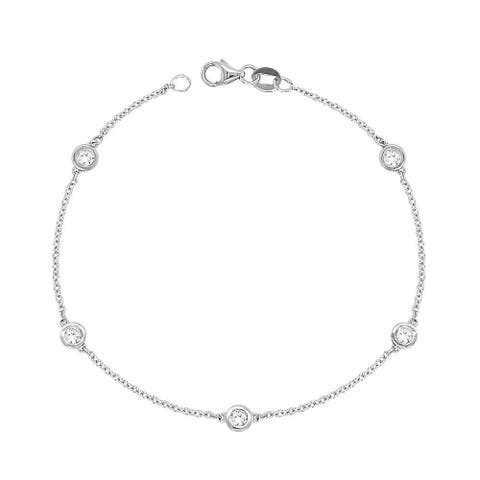 14k Gold 1/2ct TDW White Diamond 5 Station Bracelet