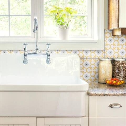 SomerTile 9.75 x 9.75-Inch Laima Dandelion Porcelain Floor and Wall Tile