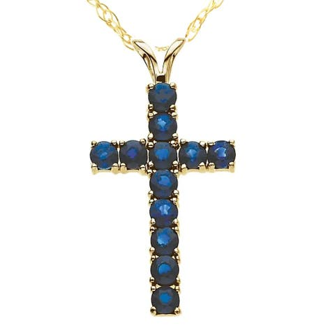 """1 1/5 Ct Genuine Blue Sapphire Cross Pendant Necklace 18"""" Yellow Gold 1"""" Tall"""