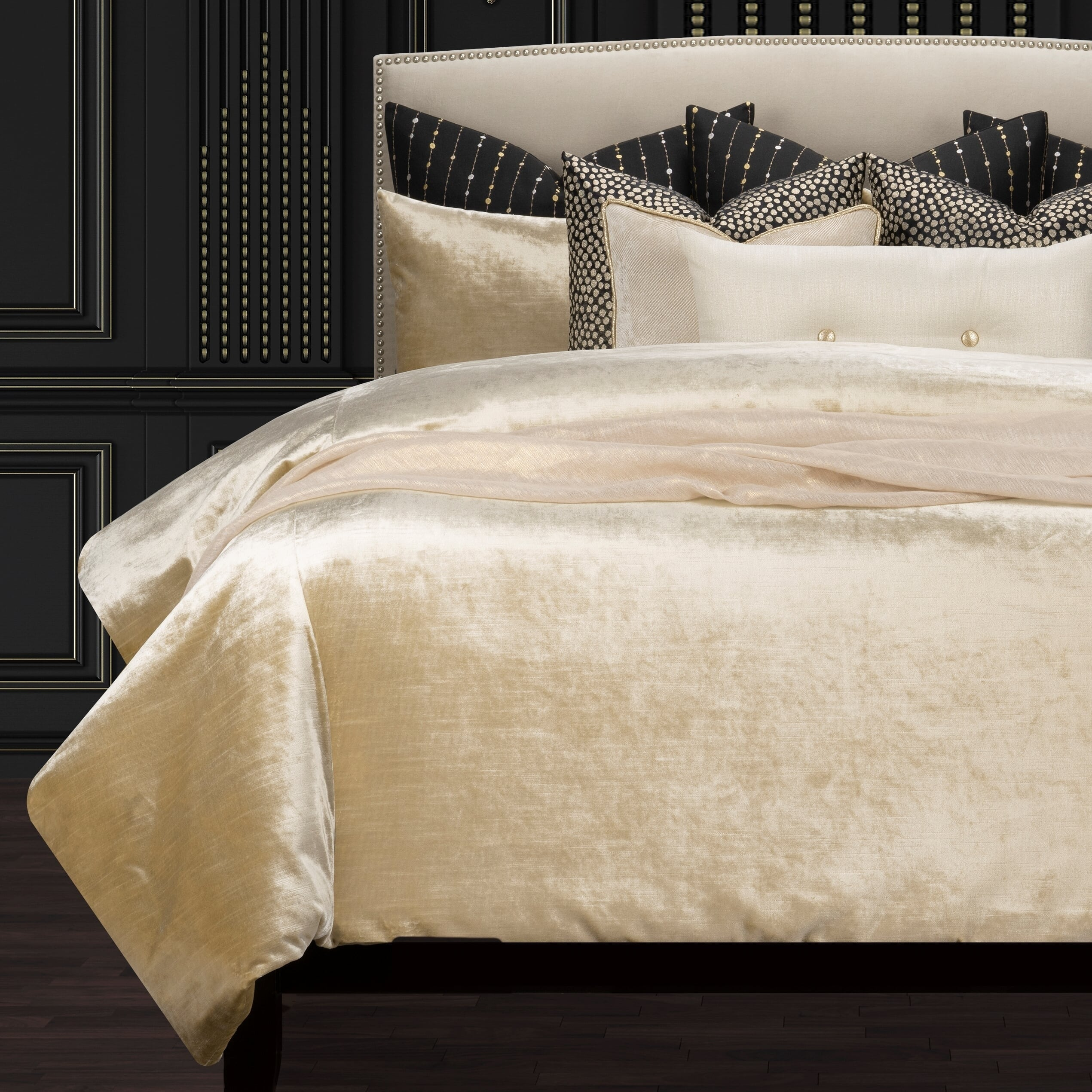 Golden Hours Luxury Gold Velvet Supreme Duvet Cover And Insert Set On Sale Overstock 30749706