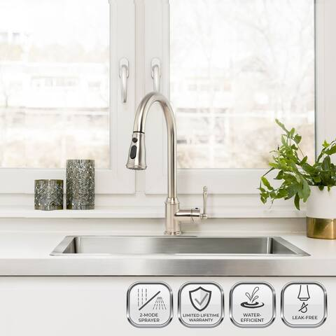 Kitchen Faucet with Pull Down Sprayer - Brushed Nickel High Arc Kitchen Faucet - 58 Flexible Hose