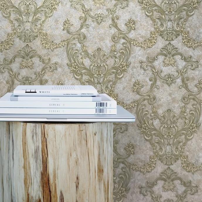 Overstock Wallpaper taupe gold metallic textured plaster effect Victorian Damask