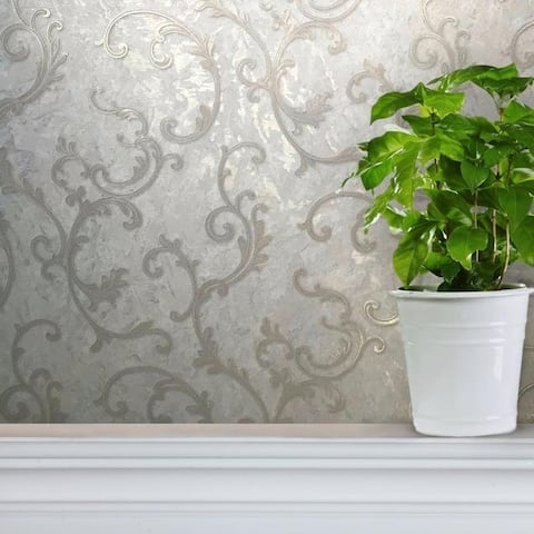 Modern Wallpaper Victorian Silver gold white ivory metallic damask