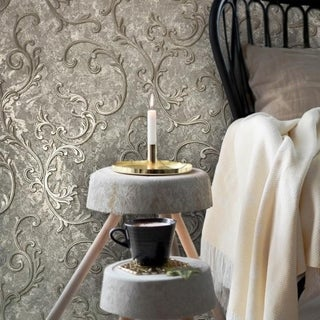Modern Embossed Wallpaper Victorian Gray Silver metallic Brown damask