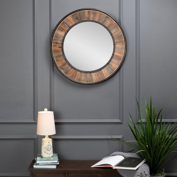 "Evolution by Crestview Collection Distressed 30.5""H Wooden Farmhouse Mirror"