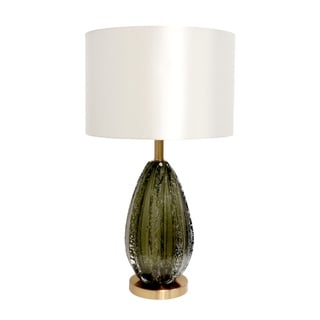 "Link to Pasargad Home Felicia Collection Modern Table Lamp, Green Glass and White Drum Shade - H26""xD15""xW15"" Similar Items in Table Lamps"