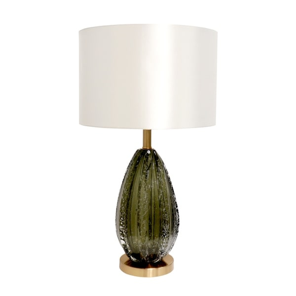 """Pasargad Home Felicia Collection Modern Table Lamp, Green Glass and White Drum Shade - H26""""xD15""""xW15"""". Opens flyout."""