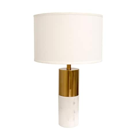 "Pasargad Home Modern Marble and Metal Pillar Rhoda Table Lamp with Light E27 Bulb, On-Off Switch - H25"" D5"""