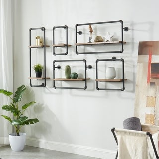 Furniture of America Romi Sand Black 5-Piece Industrial Pipe Wall Shelf Set