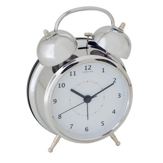 Link to Unek Goods NeXtime Wake Up Alarm Clock, Shiny Silver, Bell Alarm, White Face, Battery Operated Similar Items in Decorative Accessories