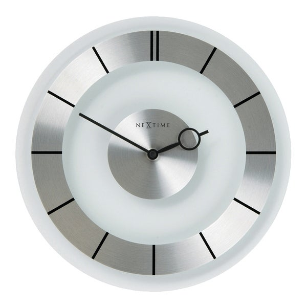 Unek Goods NeXtime Retro Wall Clock in Glass and Stainless Steel, Round, Battery Operated
