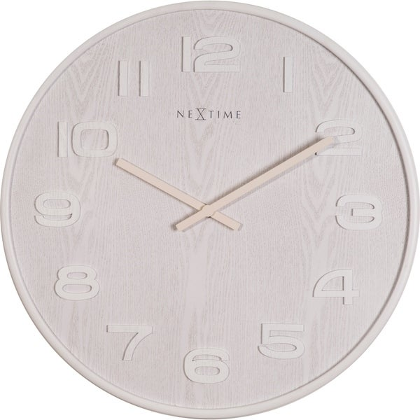 Unek Goods NeXtime Wood Wood Big Wall Clock, Round, White, Battery Operated