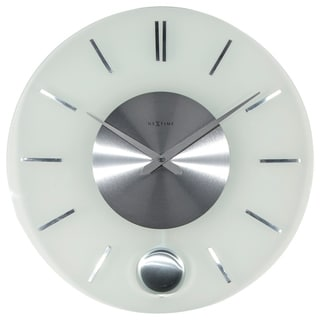 Link to Unek Goods NeXtime Stripe Pendulum Wall Clock, Round, Glass and Metal, Battery Operated Similar Items in Decorative Accessories