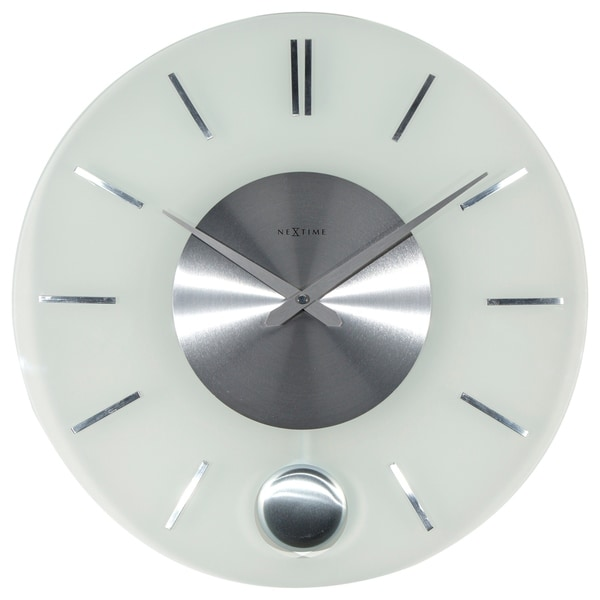 Unek Goods NeXtime Stripe Pendulum Wall Clock, Round, Glass and Metal, Battery Operated. Opens flyout.