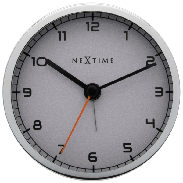Unek Goods NeXtime Tabletop Company Alarm Clock, Round, Metal, White, Battery Operated