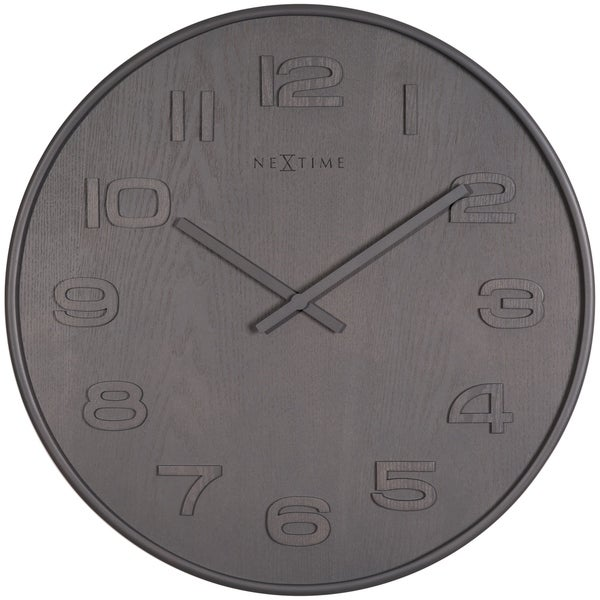 Unek Goods NeXtime Wood Wood Wall Clock, Medium Round, Grey, Battery Operated