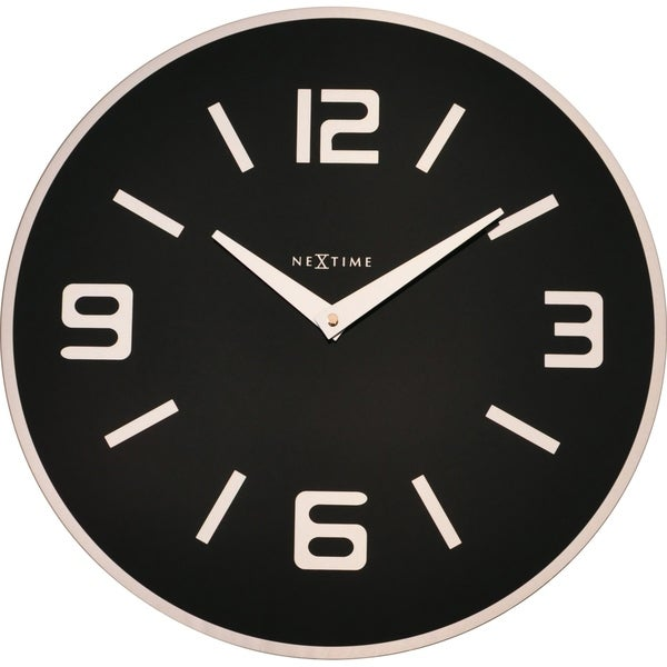 Unek Goods NeXtime Shuwan Wall Clock, Round, Glass, Black, Battery Operated