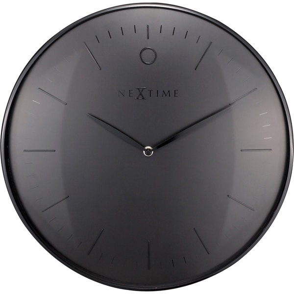 Unek Goods NeXtime Glamour Metal Dome Wall Clock, Round, Aluminum and Glass, Black, Battery Operated