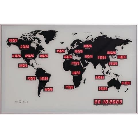 Unek Goods NeXtime World Time Digit Wall Clock, Rectangle, Aluminum, Black, LED, AC Adapter