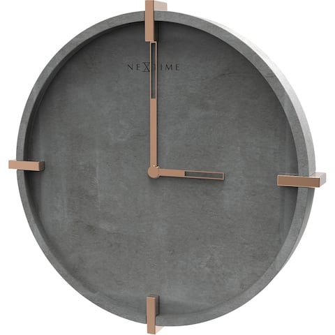 "Unek Goods NeXtime Mohawk Wall Clock, Round, Concrete and Metal, Battery Operated, 12.6"" Diameter"