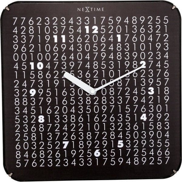 """Unek Goods NeXtime Labyrinth Dome Wall Clock, Square, Glass, Black, Battery Operated, 13.8"""" x 13.8"""""""
