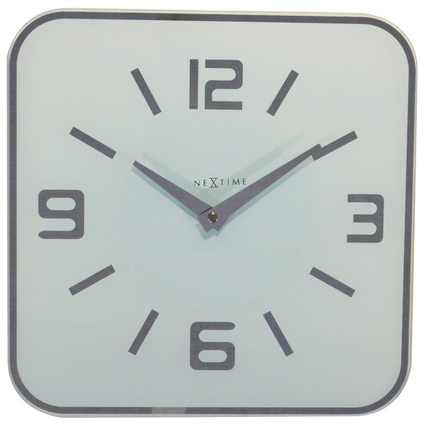 Unek Goods NeXtime Shoko Wall Clock, Square, Glass, White, Battery Operated