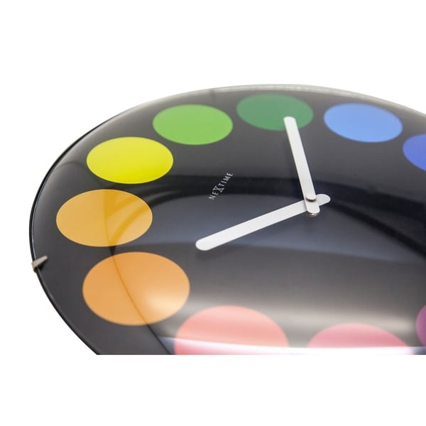 Unek Goods NeXtime Dots Dome Wall Clock, Round, Black, Glass, Battery Operated
