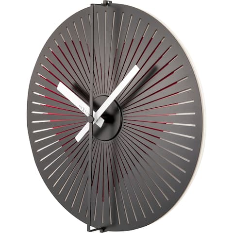 Unek Goods NeXtime Motion Heart Wall Clock, Round, Metal and Plastic, Red, Battery Operated