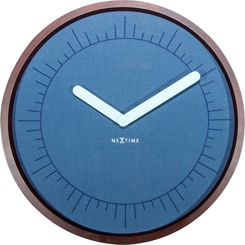Unek Goods NeXtime Calmest Wall Clock, Round, Wood and Fabric, Blue, Battery Operated