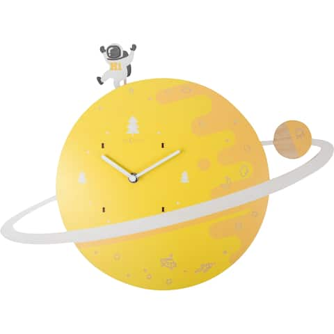 Unek Goods NeXtime Spaceman Glow in the Dark Wall Clock, Yellow, Wood, Battery Operated