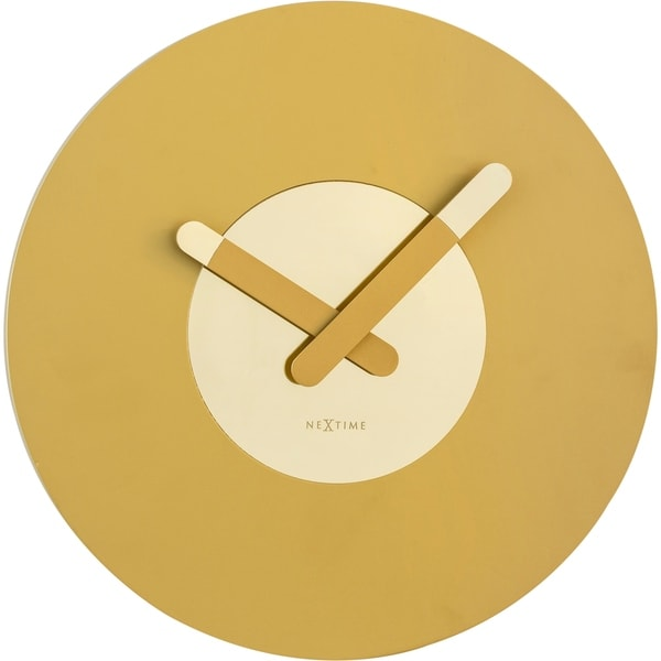 Unek Goods NeXtime In Touch Wall Clock, Wood, Round, Gold, Battery Operated